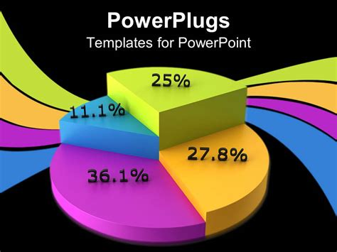 powerpoint template colorful pie chart displaying