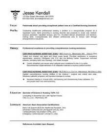 resume objective for nursing aide exle cna certified nursing assistant resume free sle