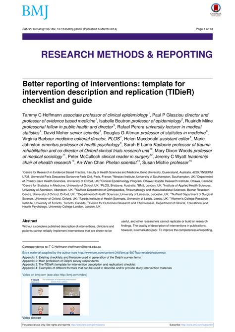 reporting  interventions template
