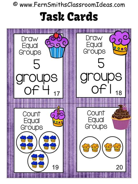 ferns freebie friday  equal groups task cards