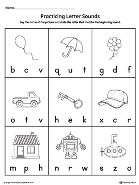 practice beginning letter sound worksheet printable