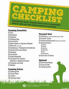 Boy Scouts Camping Checklist National Scout Shop
