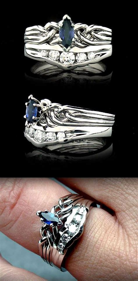 marquise sapphire puzzle engagement ring with channel diamond shadow band celtic