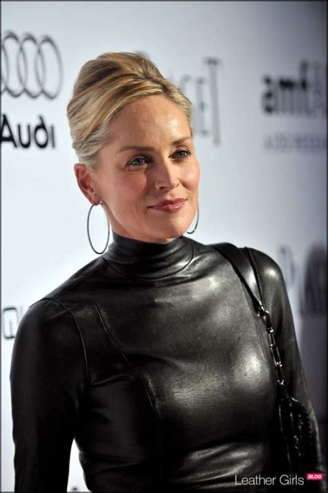 sexyinleather: SHARON STONE SEXY IN LEATHER   Leather