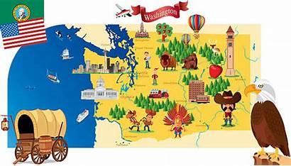Washington Cartoon Map State Vector Illustration Clip
