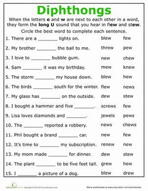practice reading vowel diphthongs ew worksheet