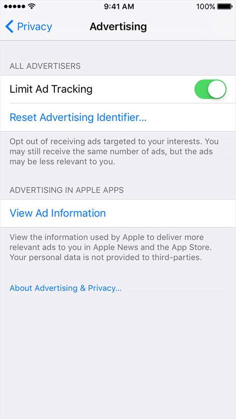 apple iphone ad opt out of interest based ads in the app store and apple