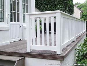 gelander fur balkon garten und terrasse hartholz weiss With französischer balkon mit gestalten mit holz im garten