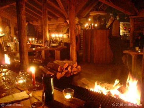 norwegian log cabin  green roof