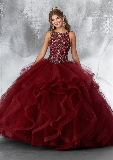 embroidered bodice  beading   flounced tulle