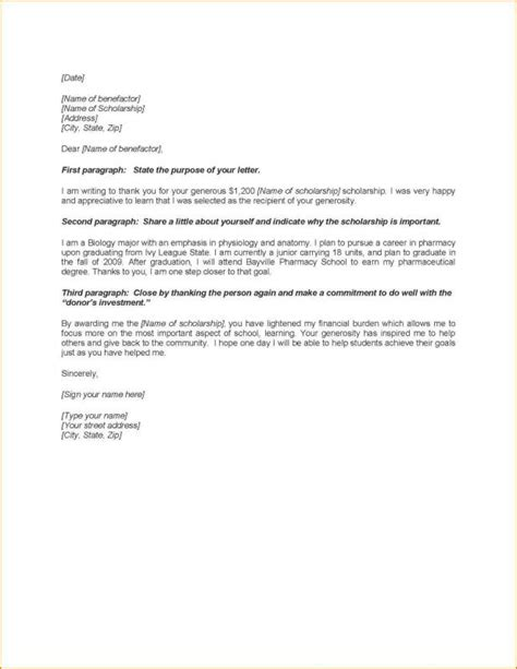 thank you letter for scholarship scholarship thank you letters sle template business 11626
