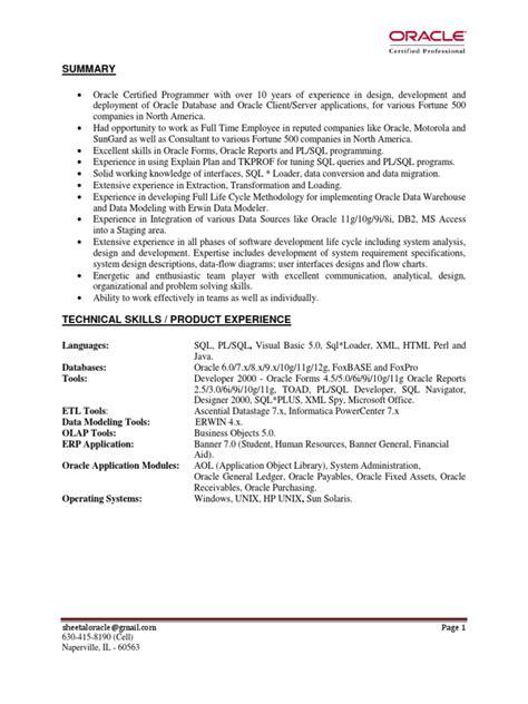 Sql Analyst Resume by Oracle Pl Sql Developer Program Analyst In Chicago Il