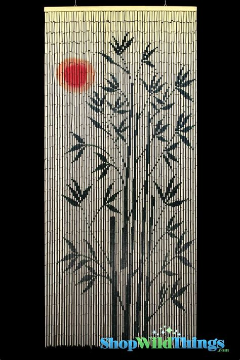 bamboo painted curtain red sun tree scene door beads