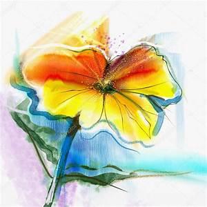 Aquarell Malen Blumen : abstrakte aquarell blumen hand malen stillleben mit gelb ~ Articles-book.com Haus und Dekorationen