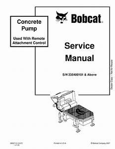 Bobcat Concrete Pump Service Manual Sn 235400101  U0026 Above Pdf Download - Service Manual
