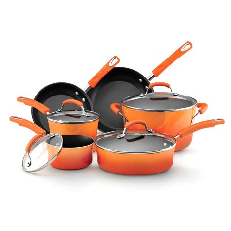 rachael ray porcelain enamel ii  piece cookware set  tone orange cookware sets  hayneedle