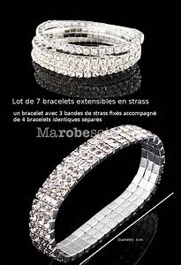 bracelet argente avec 7 bandes de strass extensible With robe pour mariage cette combinaison collier homme argent