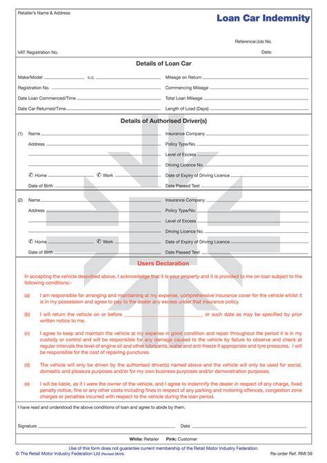 rmip loan car indemnity form pad rmi webshop