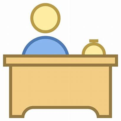 Desk Clipart Reception Icon Office Receptionist Icons