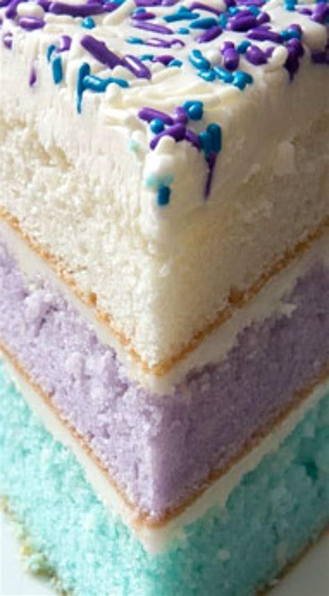 surprise watercolor layer cake  vanilla buttercream