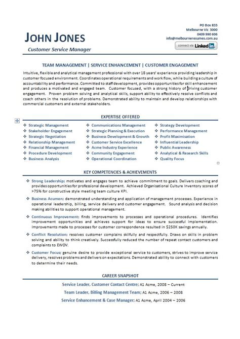 customer service professional resume exles australia