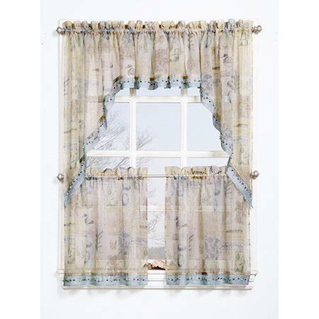 valance curtains walmart seascape textured sheer printed curtain valance walmart
