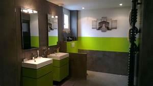 deco salle de bain noir et vert With salle de bain vert anis