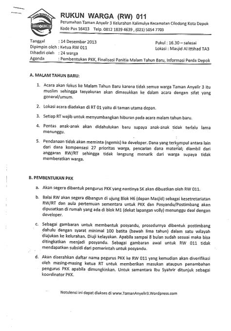 Surat Notulen Rapat by Notulen Rapat 14 12 Ttg Acara Malam Tahun Baru
