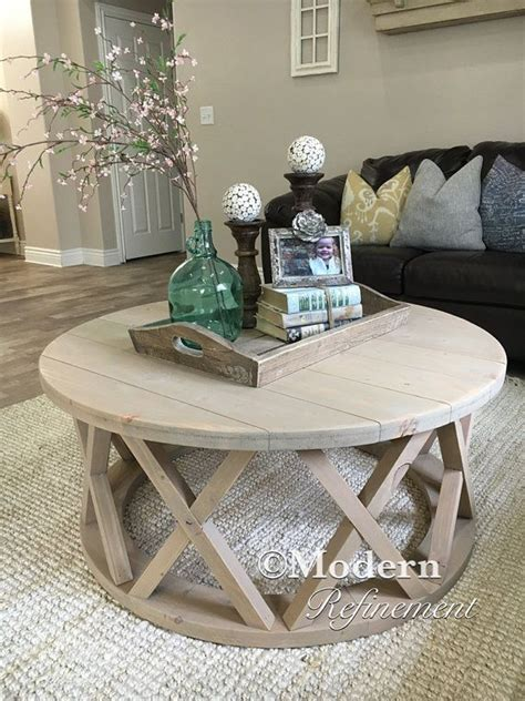 Round coffee tables for a more usable space. cool awesome Gorgeous rustic round farmhouse coffee table by www.top-homedecor...... | Coffee ...