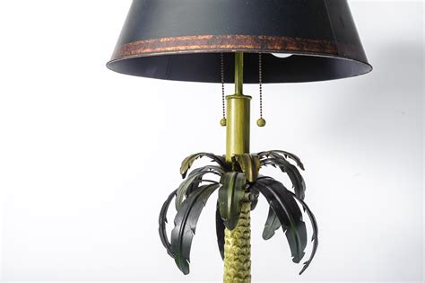 Pair Of Tole Palm Tree Floor Lamps With Tole Shades On
