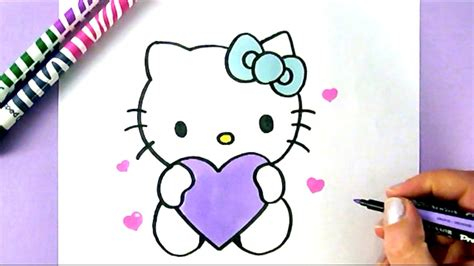 How To Draw Hello Kitty With Love Hearts