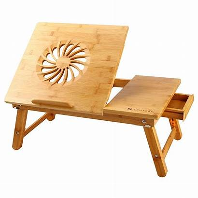 Desk Laptop Bamboo Lap Table Adjustable Bed