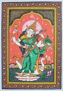 Orissa Pata Painting Of Goddess Saraswati