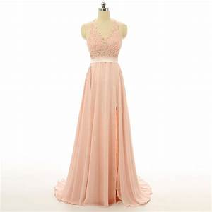 Peach Evening Prom dresses, Lace Long Prom dresses ...