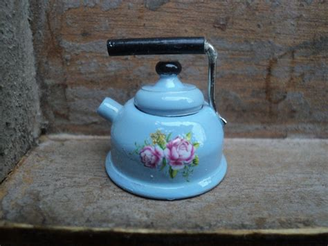 shabby chic kettle and toaster dollhouse miniature tea kettle pastel blue in 1 or 1 12