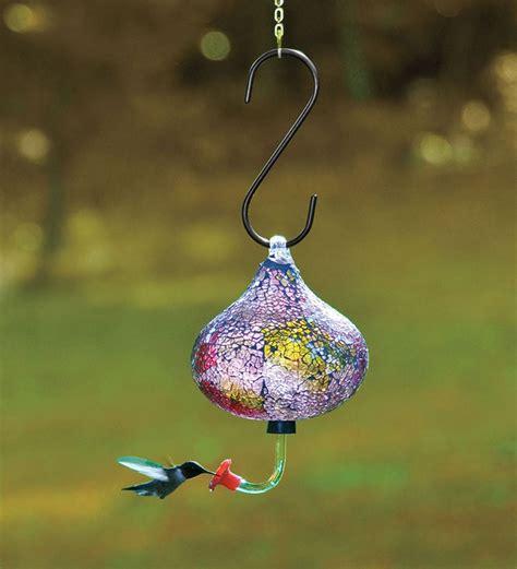 this iridescent recycled glass mosaic hummingbird feeder