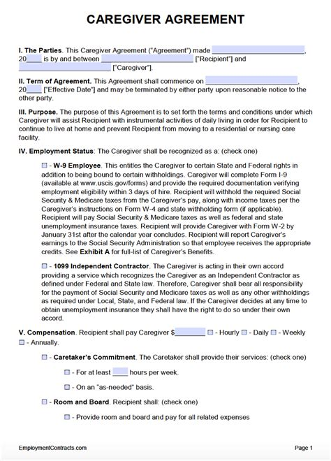 caregiver agreement template  word