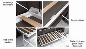 Mécanisme Lit Escamotable : lit armoire escamotable vertical avec rangements ~ Voncanada.com Idées de Décoration