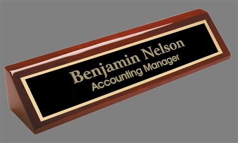 engraved desk name plate rosewood block black brass plate pna210 ebay