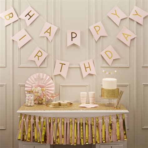 pink and gold birthday decorations uk pink happy birthday foiled bunting pastel perfection