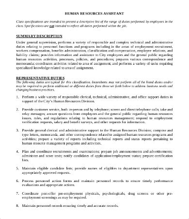 Human Resource Manager Job Description  10+ Free Word