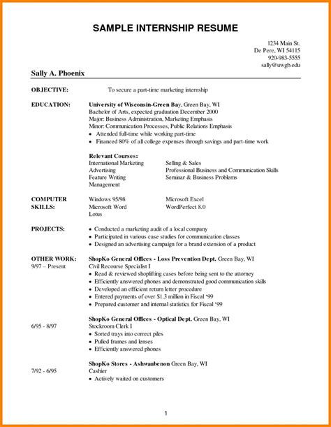 Sle College Freshman Resume by Resume Sles For Internships For College Students 28