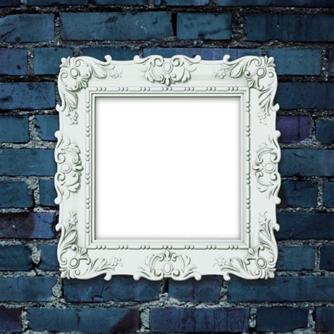 decorated picture frame  dark blue brick wall custom