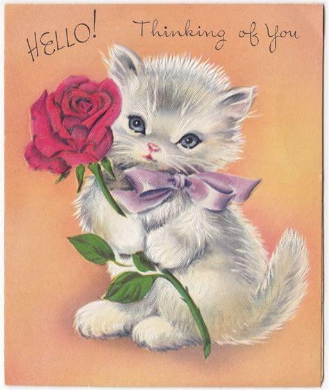 vintage greeting card cute cat kitten holding rose flower