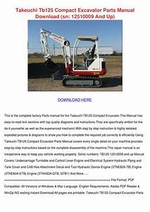Takeuchi Tb125 Compact Excavator Parts Manual By