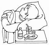 Sick Ziek Bed Child Kleurplaat Coloring Drawing Medicine Clipart Zijn Sleeping Beterschap Kind Mama Beter Worden Tablet Kleurplaten Cartoon Line sketch template
