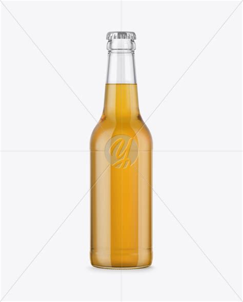 It features three clear bottles with wooden caps displayed in a perspective angle. 330ml Clear Glass Bottle with Lager Beer Mockup in Bottle ...