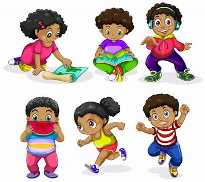 African Children American Afro Vector Illustrations Clipart