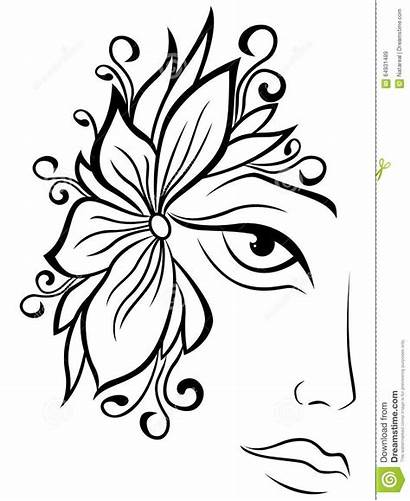 Face Female Floral Drawing Vector Accessories Outline