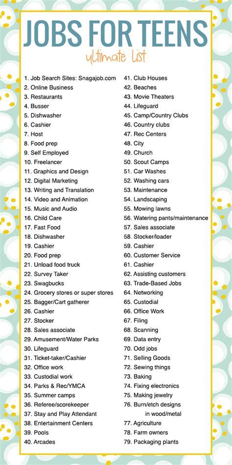 jobs  teens  ultimate list    apply